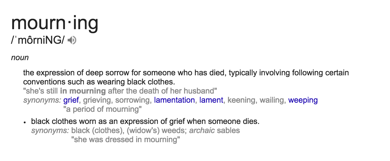 Mourning Definition