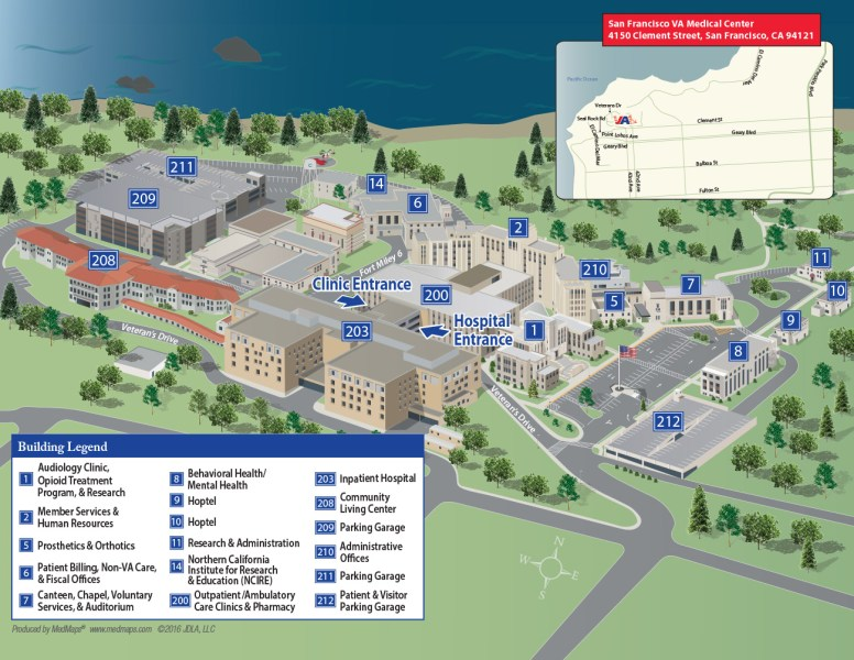 San Francisco VA Health Care System Campus Map      Map Directions