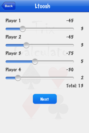 Trix Calculator adding LT score screenshot