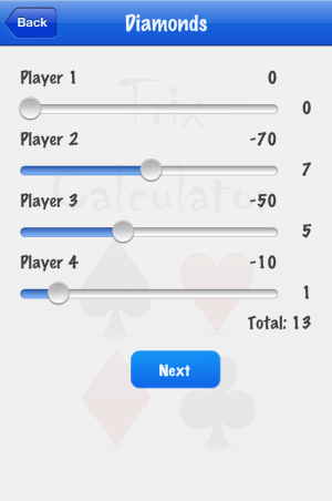 Trix Calculator adding D score screenshot