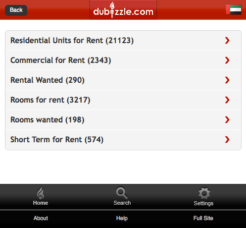 Dubizzle Mobile Website category listing page