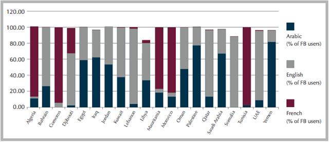 facebook language preferance in the MENA