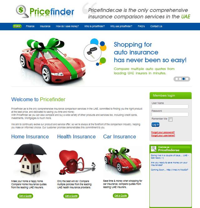 PriceFinder homepage