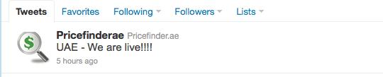 PriceFinder.ae tweet