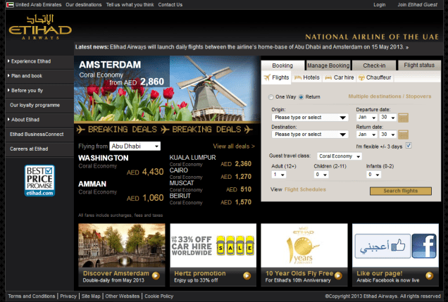 etihad homepage screenshot