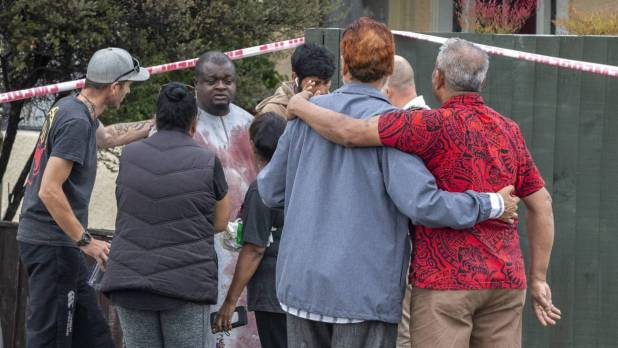 A survivor from the shooting comes through the cordon at Linwood Avenue in Christchurch. (STACY SQUIRES/STUFF)