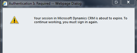 Your session in Microsoft Dynamics CRM is about to expire