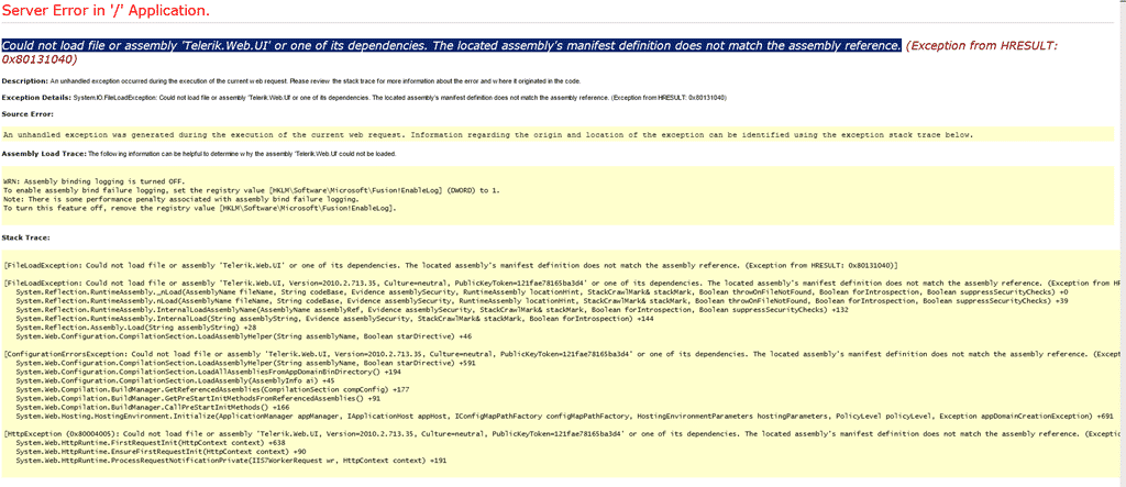 DotNetNuke - Could not load file or assembly 'Telerik Web UI' or one