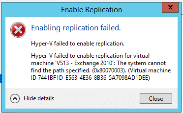 HyperV Replication Failed Path