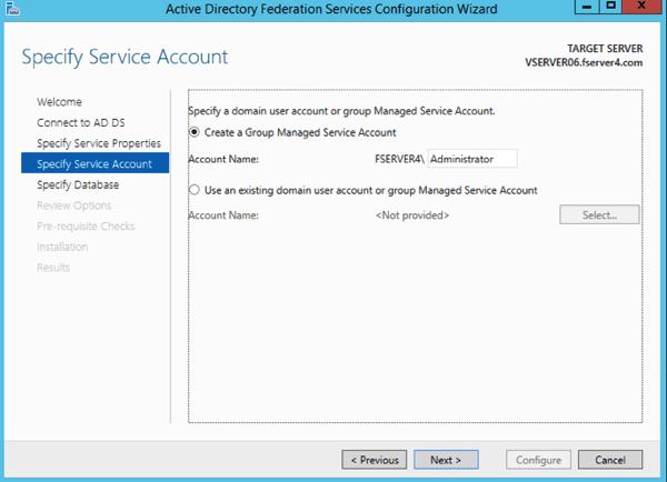 ADFS Service Account
