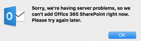 we can't add Office 365 SharePoint right now