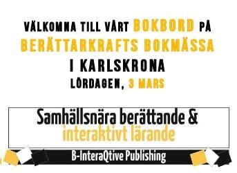 Berättarkrafts bokmässa den 3 mars, mycket välkomna till vårt bokbord! 2