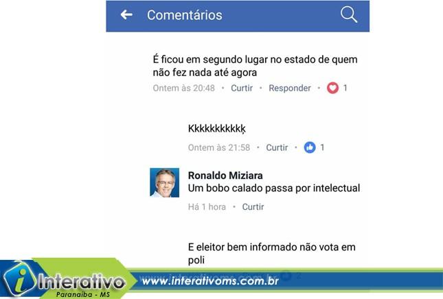 """Em rede social, prefeito de Paranaíba insinua que morador é """"bobo"""""""