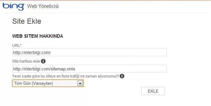 Bing arama motoruna web sitemi nasıl kayıt ederim