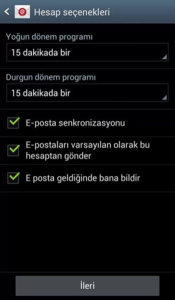 Samsung tablet mail kurulumu