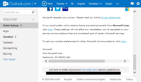 Outlook istenmeyen e-posta engelleme