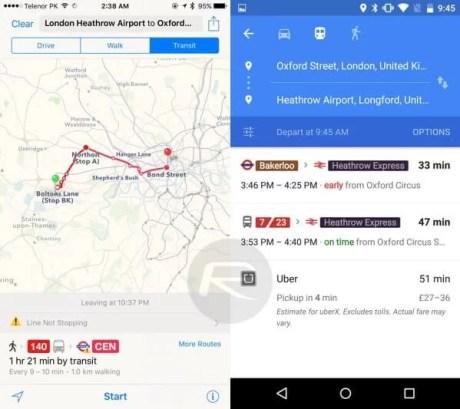 iOS 9 - Android M karşılaştırması Haritalar