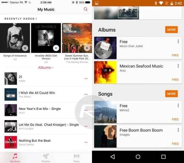 iOS 9 - Android M karşılaştırması Müzik 2