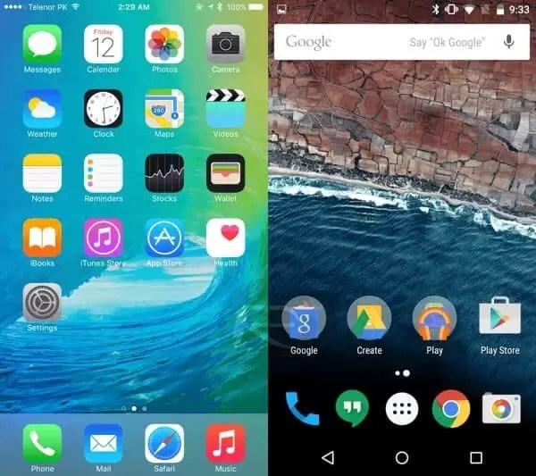 iOS 9 - Android M karşılaştırması Masaüstü Ana Ekranı