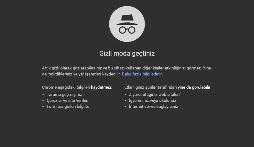 Google Chrome'da Gizli Modu Devre Dışı Bırakma