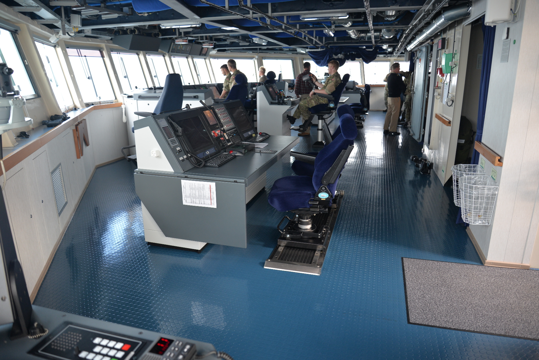 The spacious bridge spans the full width of the ship.