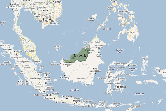 Sarawak and neighboring areas on the Island of Borneo. Image courtesy of Mongabay.com
