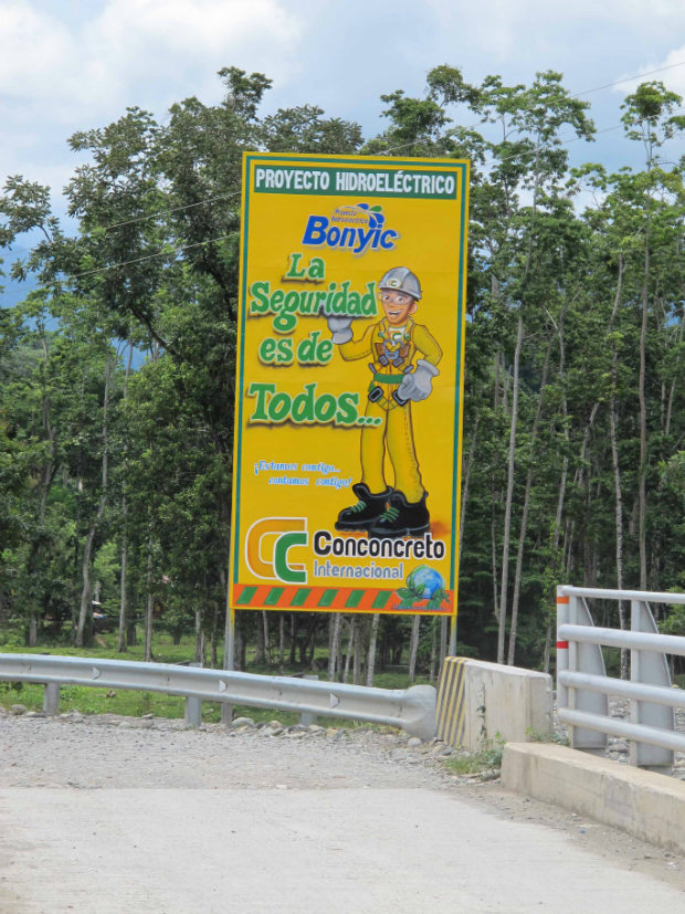 Sign at the entrance to the Naso territory. Photo: Richard Arghiris