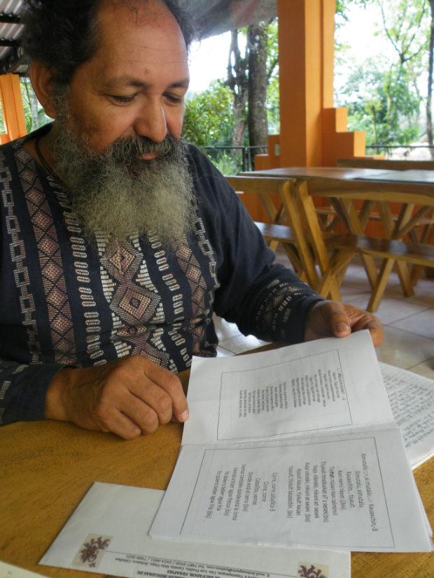 Shandur with an educational book of Nahuat language songs (Photo: Robin Llewellyn)
