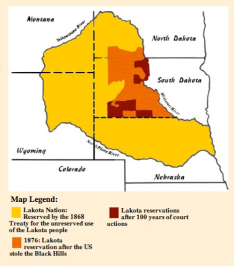 The Area Agreed Upon in the Fort Laramie Treaty of 1868 (photo republicoflakotah.com)