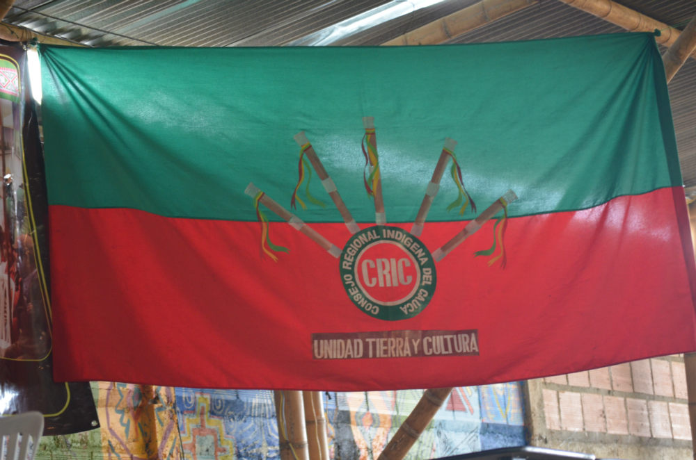 Flag of the Regional Indigenous Council of Cauca, of which ACIN is a part (Photo: Robin Llewellyn)
