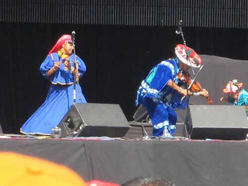 Venado Azul, a popular band comprised of a Wixarika couple and their small son, were among the headliners at Wirikuta Fest.