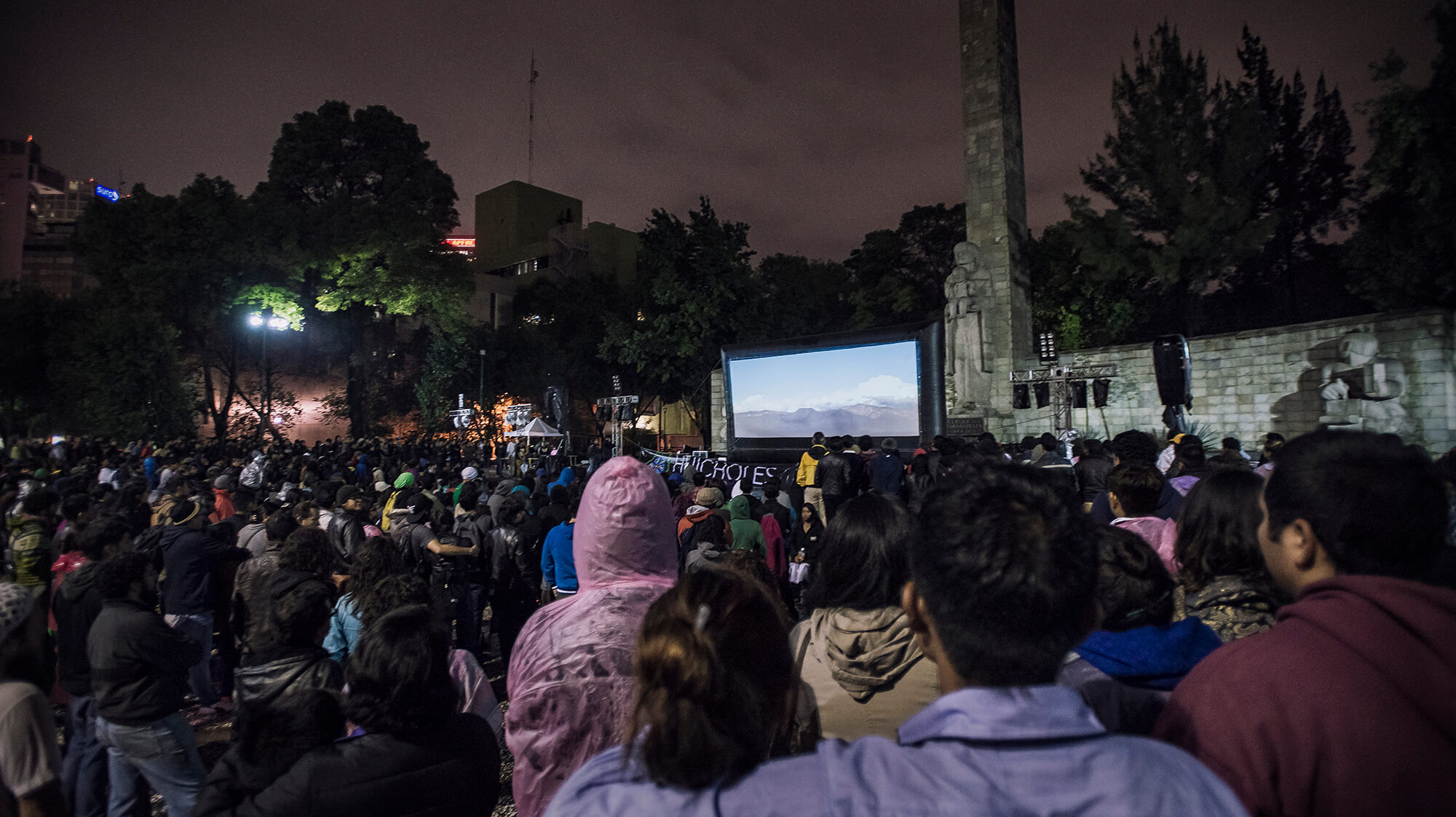 Despite a rainstorm and a last-minute change of venue, more than 2,500 turned out for the film's outdoor screening in Mexico City. (Credit: José Andrés Solórzano)
