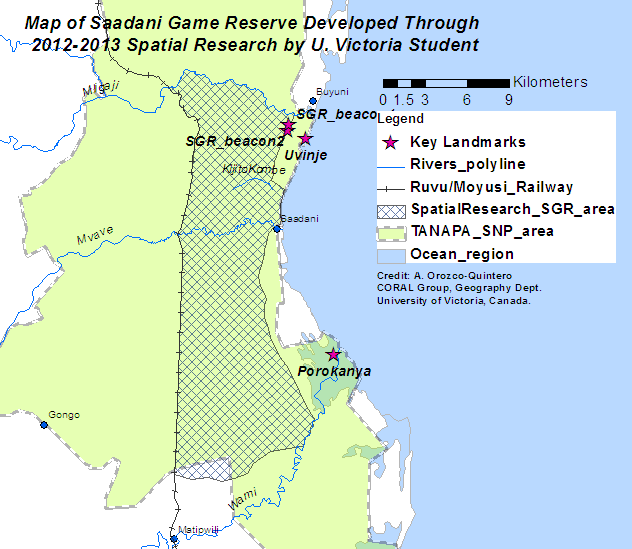 Figure 2. Map of the SGR based on the official 1974 reserve gazette and 2 boundary beacons demarcating the original reserve boundary. 2013 Research, University of Victoria.