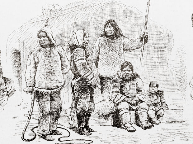 Labrador Inuit in front of a hut - illustration published in Prague's Svetozor weekly newspaper, 1880.