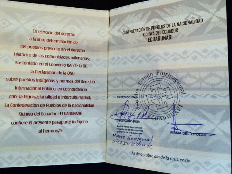 Inside the Kichwa Passport (Photo © Manuela Picq)