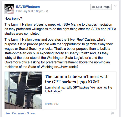 February 5, 2015 post from the SAVEWhatcom Facebook page