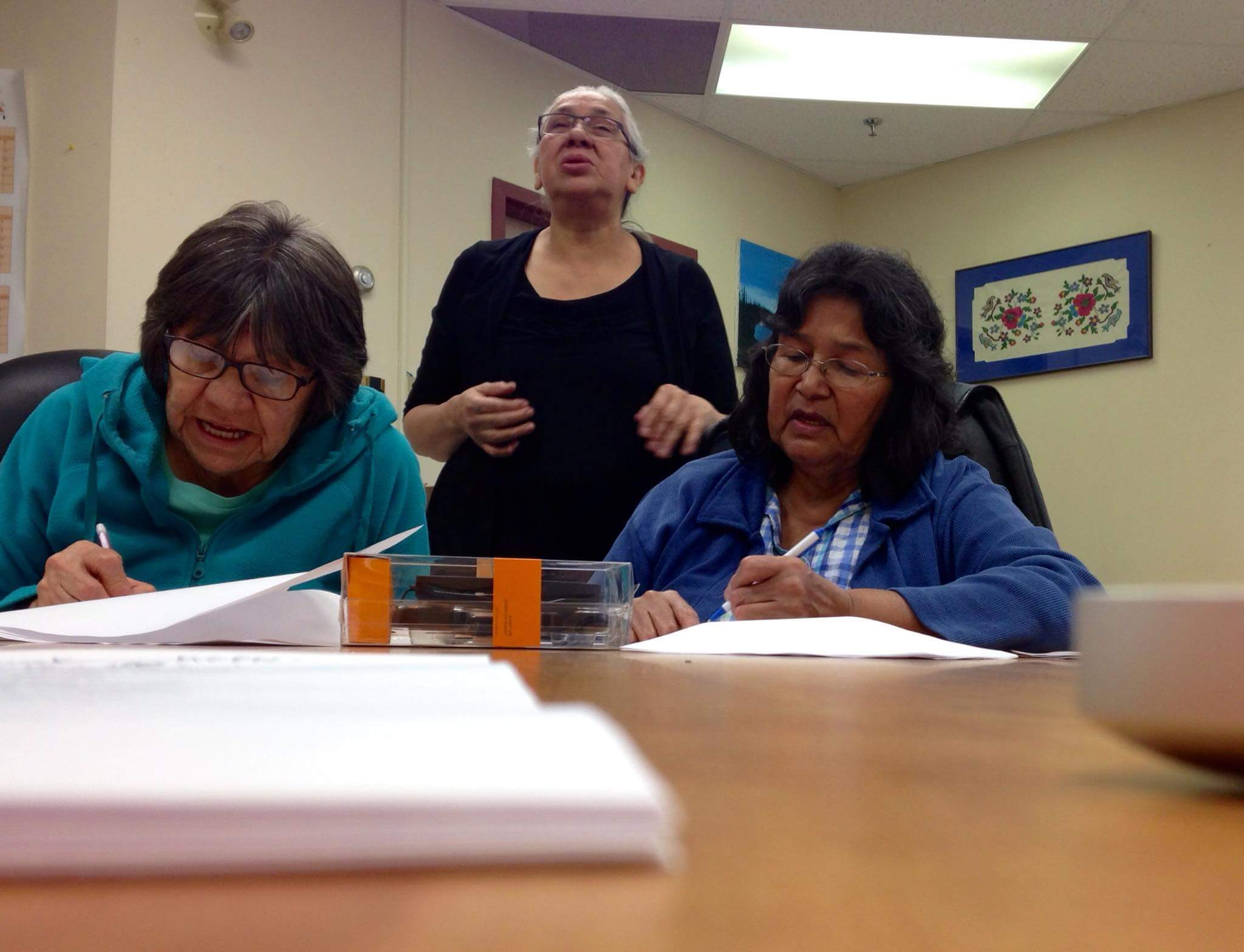 Moose Cree elders working on the talking dictionary. Photo courtesy of Anna Luisa Daigneault, Living Tongues Institute for Endangered Languages.