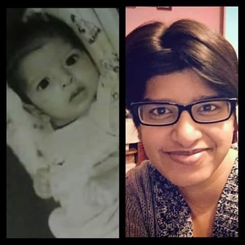 Preema Suma as an infant and now as an adult.