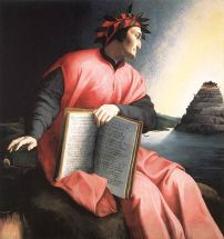 Dante gazes at Mount Purgatory in an allegorical portrait by Agnolo Bronzino, painted c. 1530