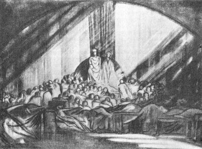In 1908, Edward Gordon Craig designed the MAT production of Hamlet (1911–12). The isolated figure of Hamlet reclines in the dark foreground, while behind a gauze the rest of the court are absorbed in a bright, unified golden pyramid emanating from Claudius. Craig's famous screens are flat against the back in this scene.