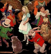 Jessie Willcox Smith's illustration of Alice surrounded by the characters of Wonderland. (1923)