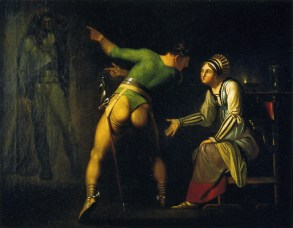 Hamlet tries to show his mother Gertrude his father's ghost (artist: Nicolai A. Abildgaard ca. 1778).