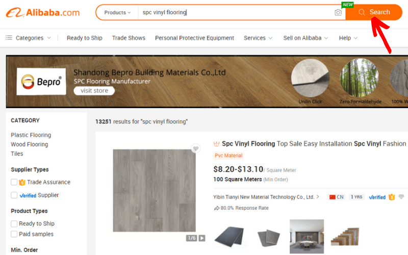 Barra de búsqueda Alibaba.com