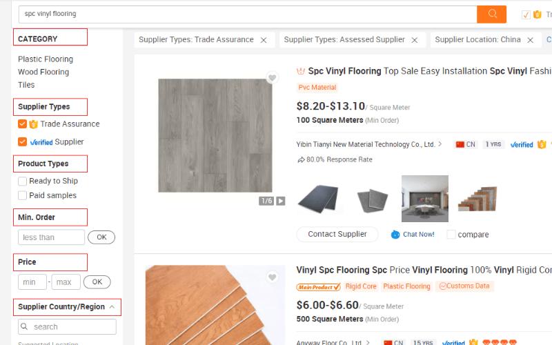 Filtros de búsqueda Alibaba.com