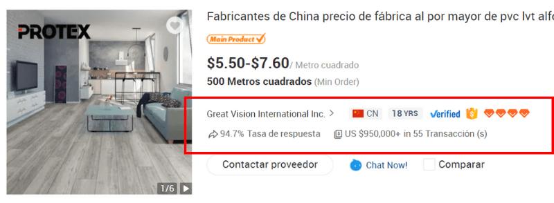 Detalles de Proveedor en Alibaba.com