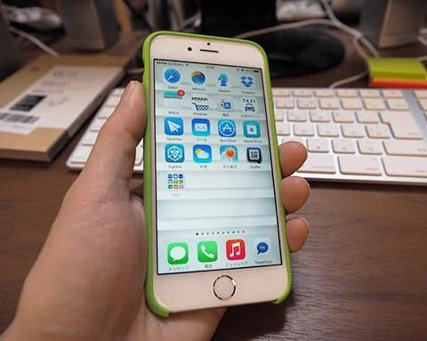 Apple純正iPhone6用シリコン製ケースグリーン。