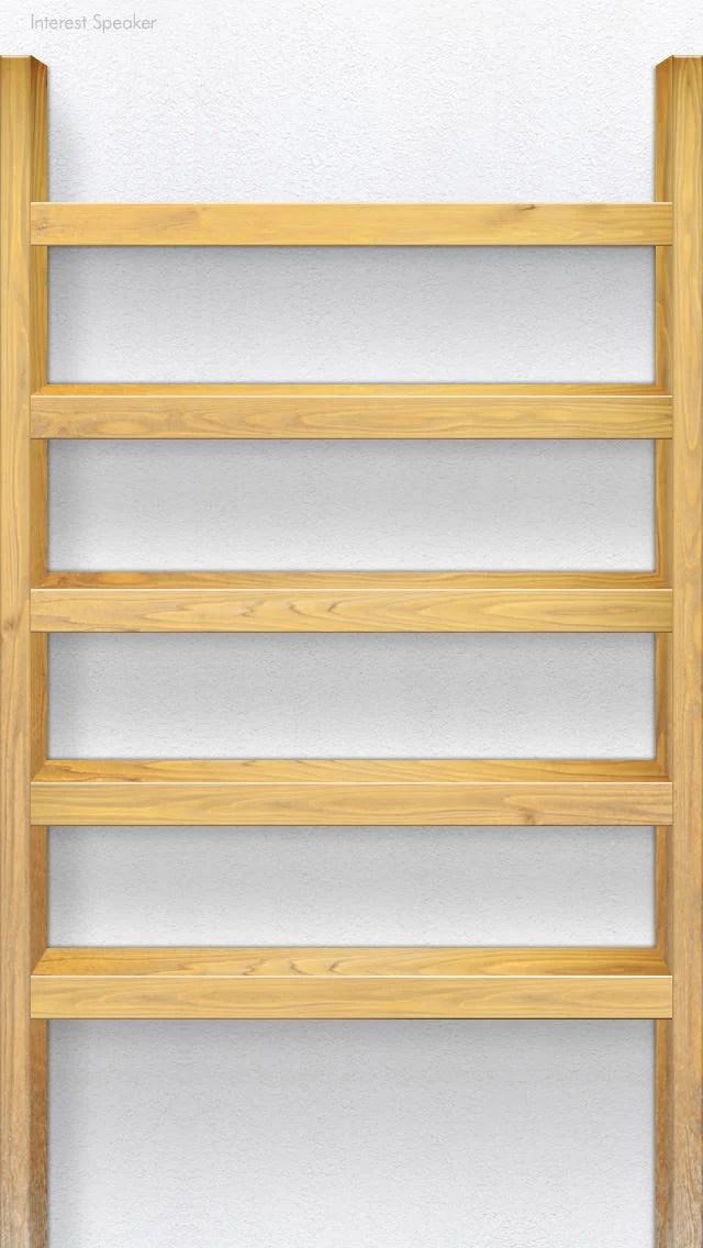 棚壁紙-shelf-wood01-light iPhone 5 ホーム画面用壁紙
