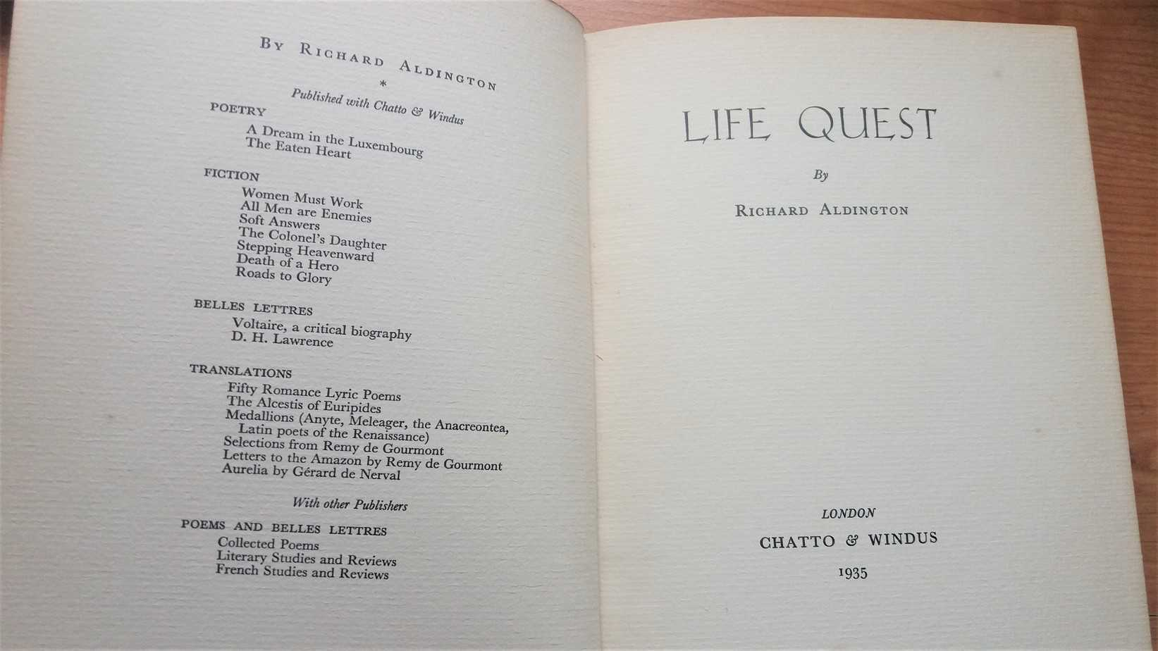 The Anxiety of the Thirties: Richard Aldington's Life Quest
