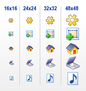Typical Icons sizes from 16x16 to 48x48 pixels