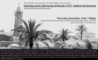 Event: 2017 Palestine & the Aftermath of Britain's 1917 Balfour Declaration